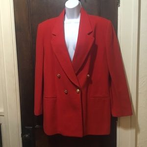Melange  Sz 14 Red Wool Blend Double Breast Blazer